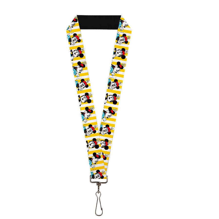 "Lanyard - 1.0"" - Minnie Mouse w Hat Poses Stripe Yellow White"