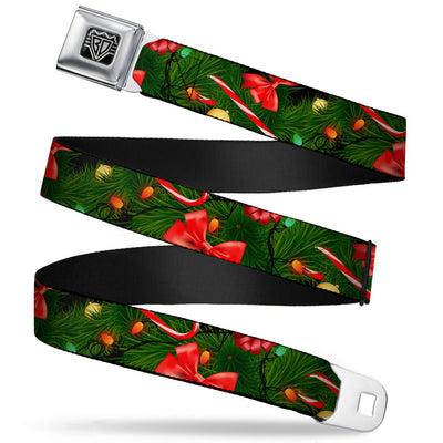 BD Wings Logo CLOSE-UP Full Color Black Silver Seatbelt Belt - Decorated Tree2 w/Bows/Lights/Candy Canes Webbing