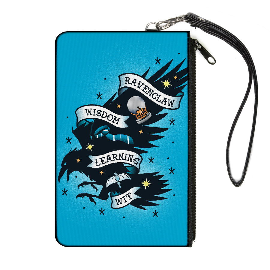 Canvas Zipper Wallet - SMALL - Harry Potter RAVENCLAW Eagle WISDOM LEARNING WIT Tattoo Blue