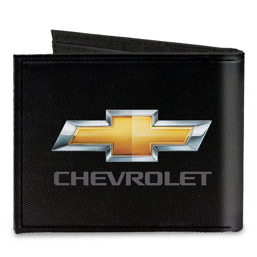 Canvas Bi-Fold Wallet - Chevy Bowtie CHEVROLET Black Gold Gray