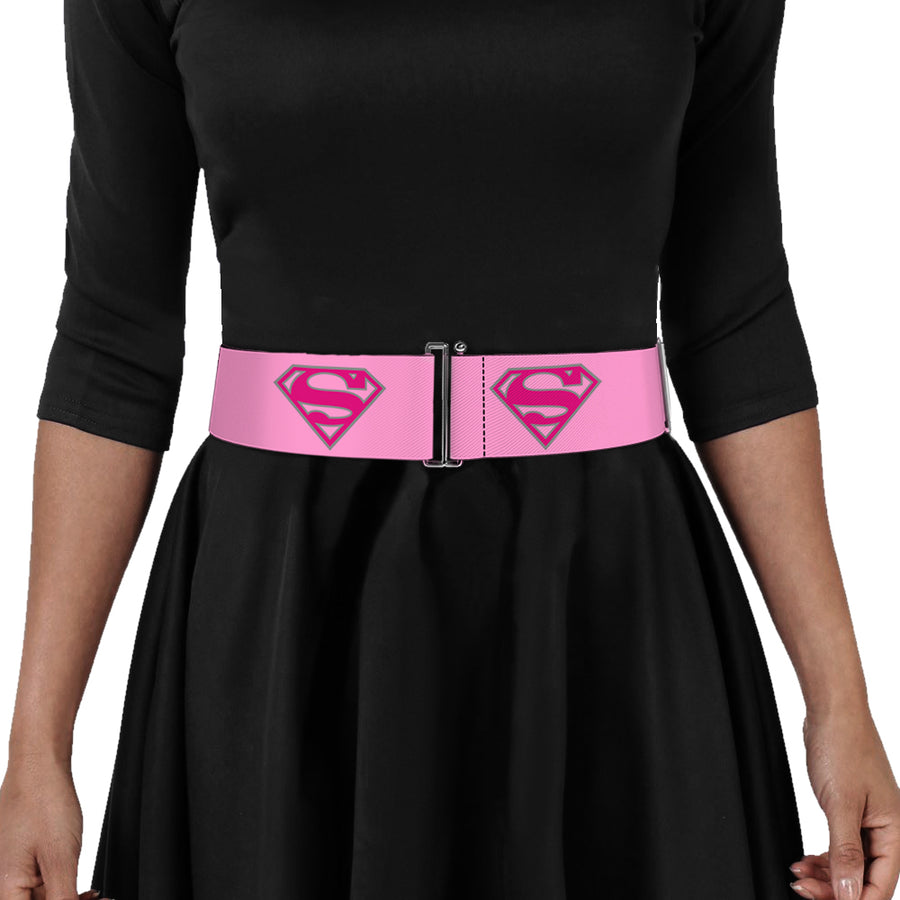 Cinch Waist Belt - Superman Shield Pink