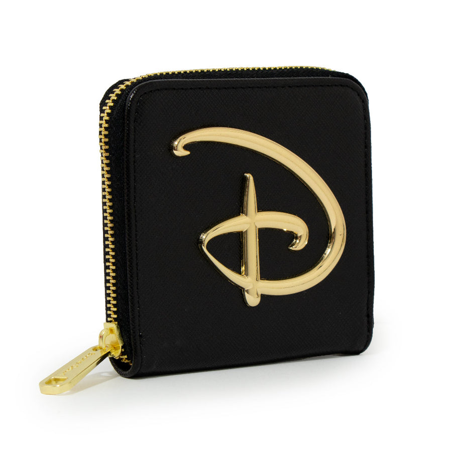Women's Zip Around Wallet Square - Disney Signature D Logo Gold Enamel