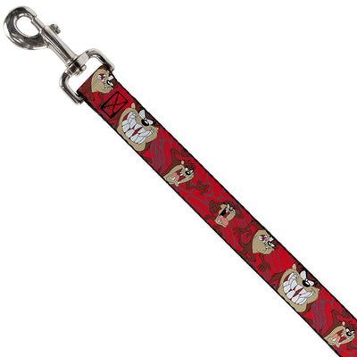 Dog Leash - Tasmanian Devil Expressions Red Swirl