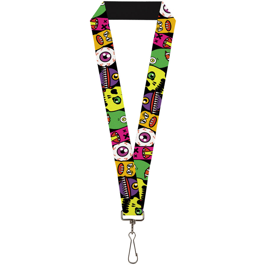 "Lanyard - 1.0"" - Monsters CLOSE-UP Black"