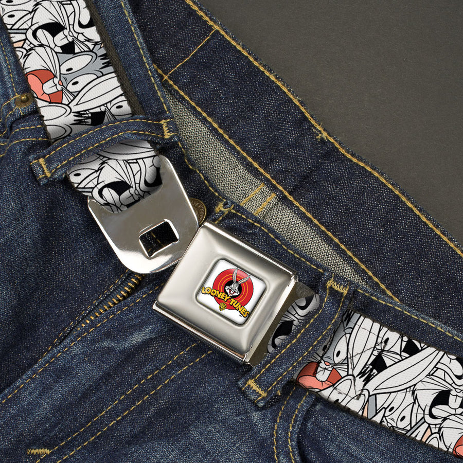 Looney Tunes Logo Full Color White Seatbelt Belt - Bugs Bunny Expressions Stacked White/Black/Gray Webbing
