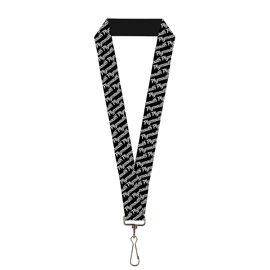 "Lanyard - 1.0"" - PLYMOUTH Text Logo Scattered Black White"