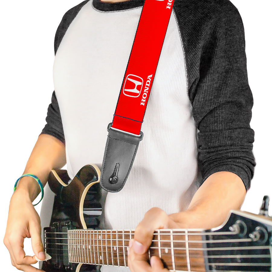Guitar Strap - Honda Logo Red White