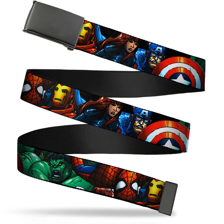 Black Buckle Web Belt - Marvel Universe Superheroes Stacked Webbing
