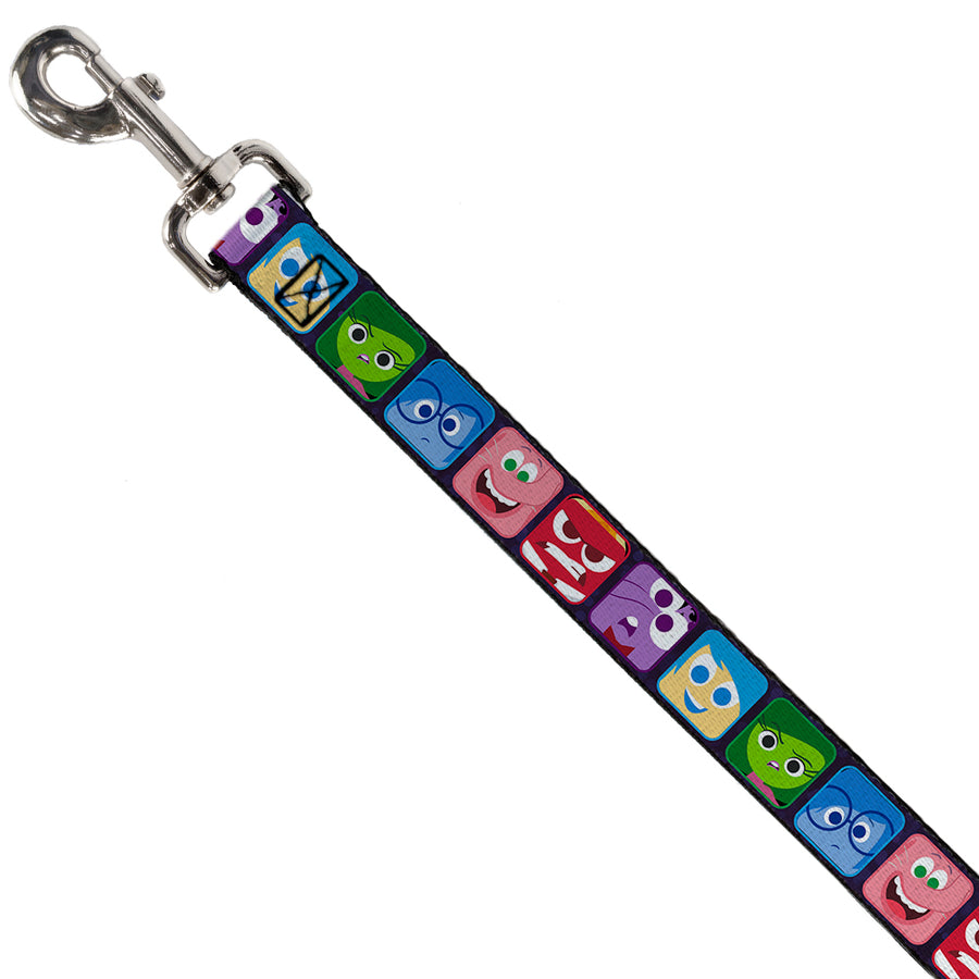 Dog Leash - Inside Out 6-Character Esxpression Blocks Purple/Multi Color