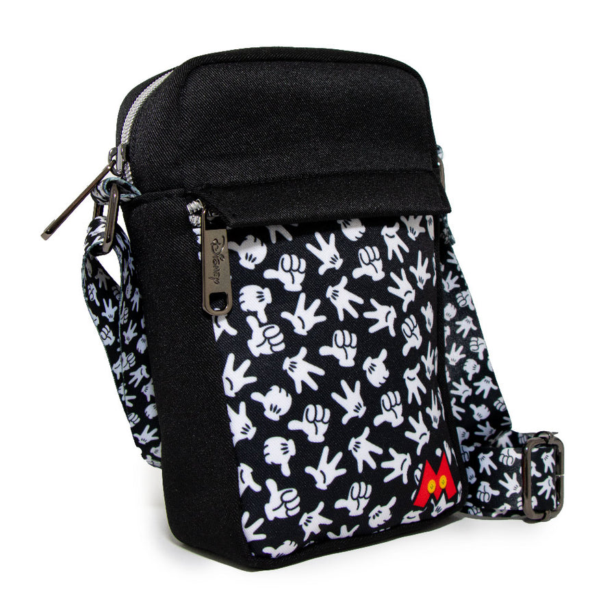 <b>Pre-Order Only </b><br>Women's Crossbody Wallet - Mickey Mouse Hand Gestures Scattered Black White