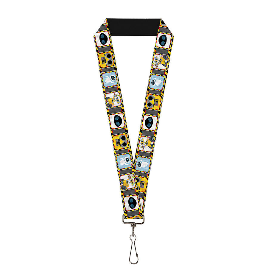 "Lanyard - 1.0"" - WALL-E & EVE Pose Face Hazard Blocks Gray Yellow Black"