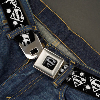 Superman Black Silver Seatbelt Belt - Superman Shield Splatter Black/White Webbing
