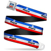 MOPAR Chrysler Logo Full Color White/Blue/Red/Black Seatbelt Belt - MOPAR Logo/Stripe Blue/White/Red Webbing
