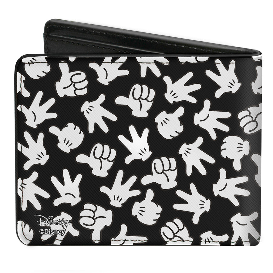 Bi-Fold Wallet - Mickey Mouse M Icon Hand Gestures Scattered Black White