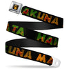 Lion King Paw Full Color Black Gold Seatbelt Belt - HAKUNA MATATA Black/Lion King Scenes Webbing