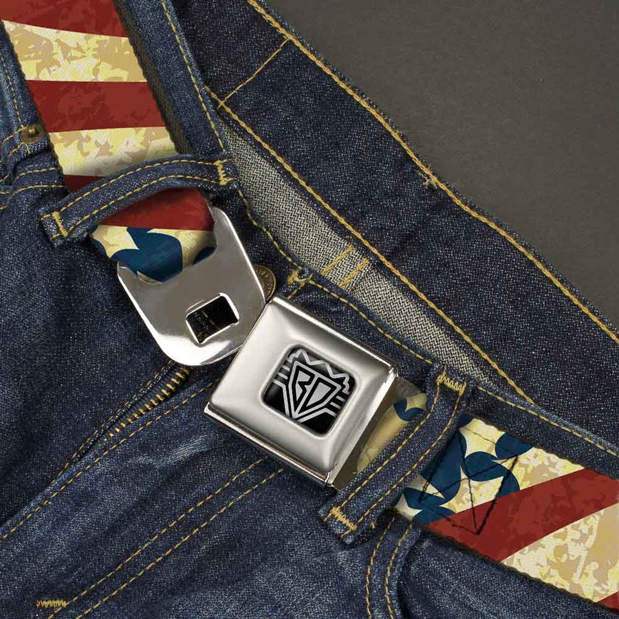 BD Wings Logo CLOSE-UP Full Color Black Silver Seatbelt Belt - Americana Diagonal Vintage Stars & Stripes2 Webbing
