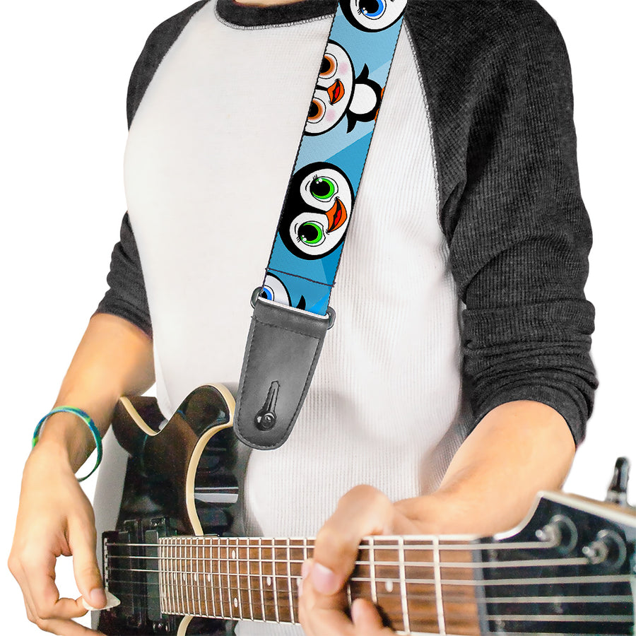 Guitar Strap - Cute Penguins Blue Bubbles