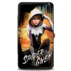 MARVEL UNIVERSE Hinged Wallet - SPIDER-GWEN Crouching Pose Buildings Splatter Black White
