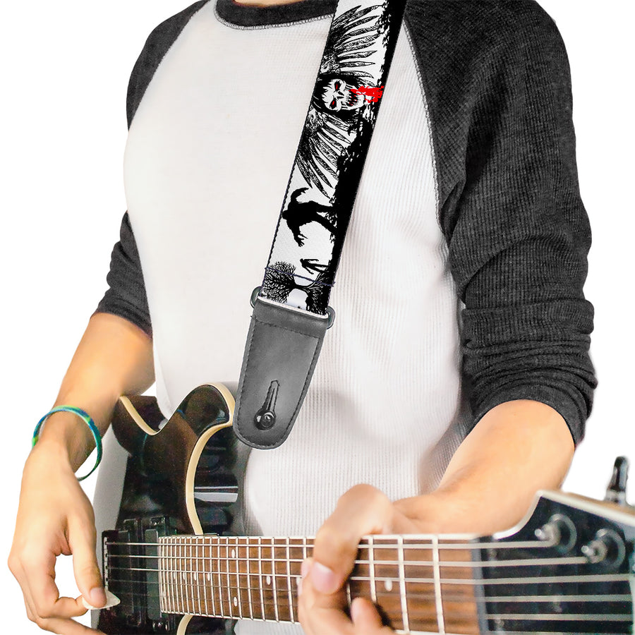 Guitar Strap - Fright Night White Black Red