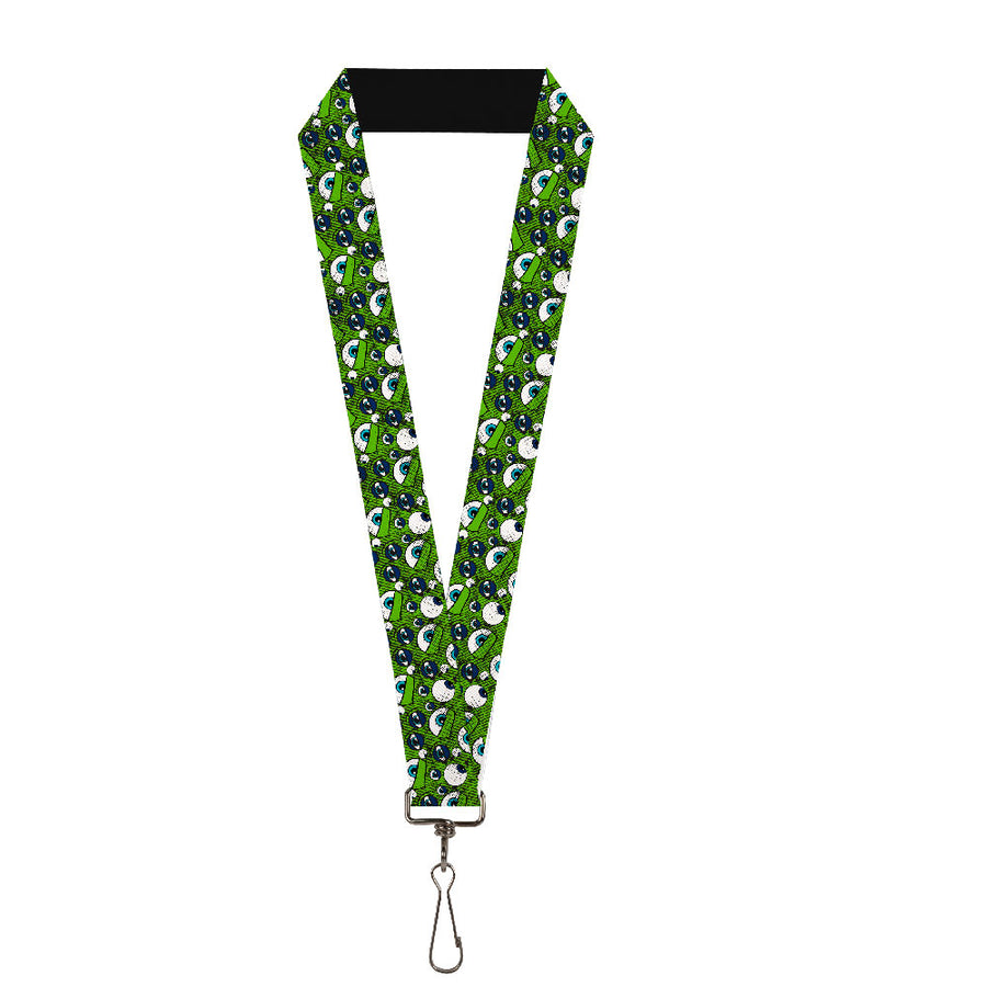 "Lanyard - 1.0"" - Monsters Inc Eye Collage Weathered Greens Blues"
