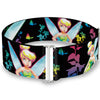 Cinch Waist Belt - Glowing Tinker Bell Poses Butterflies & Flowers Black Multi Neon