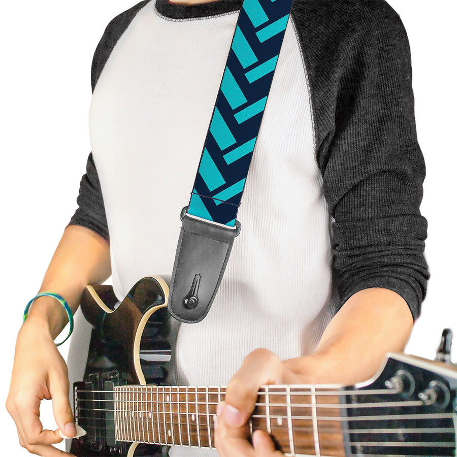 Guitar Strap - Jagged Chevron Navy Turquoise