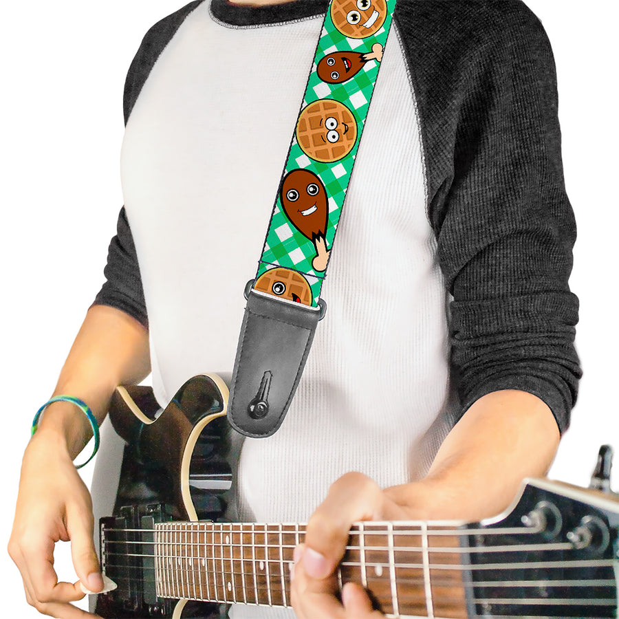 Guitar Strap - Fried Chicken & Waffles Plaid White Green