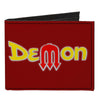 Canvas Bi-Fold Wallet - Vintage Dodge DEMON Logo Burgundy Silver Yellow Red