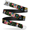 Tinker Bell Sketch Full Color Seatbelt Belt - Tinker Bell Poses/Sleeping Floral Collage Webbing