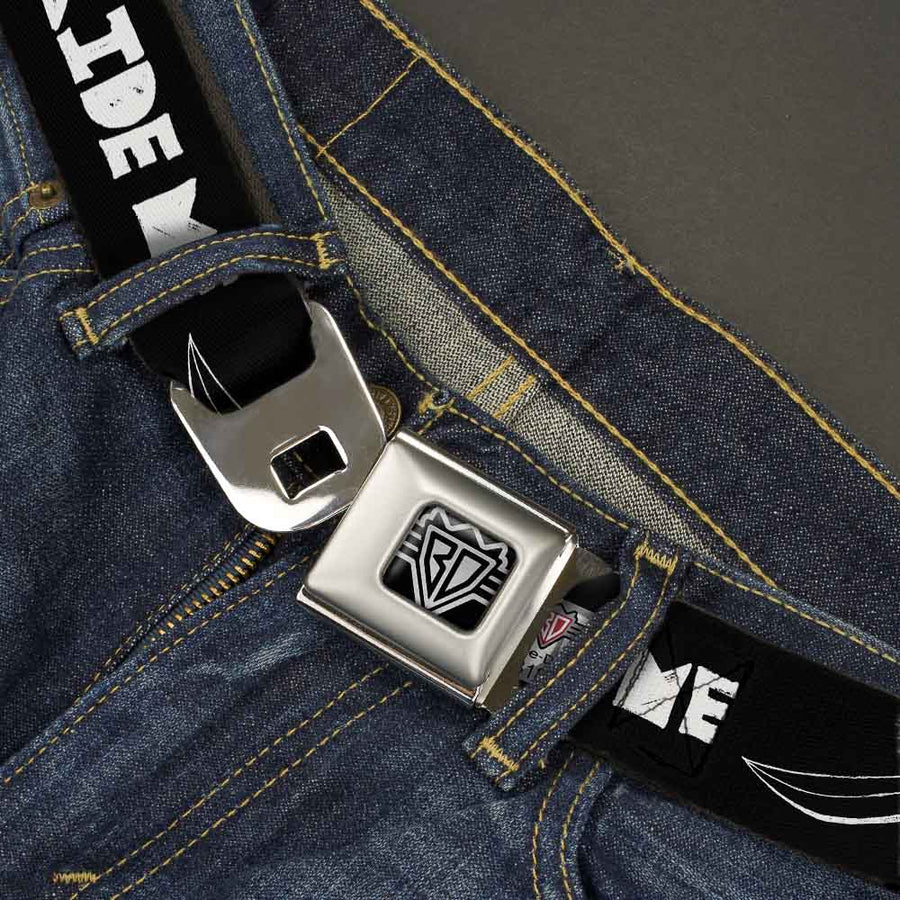 BD Wings Logo CLOSE-UP Full Color Black Silver Seatbelt Belt - RIDE ME Surfboard Black/White Webbing