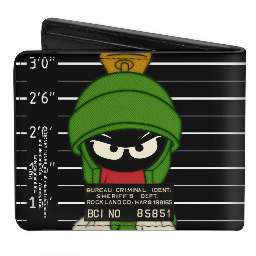 Bi-Fold Wallet - Marvin the Martian ROCKLAND CO Mug Shot Black White