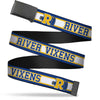 Black Buckle Web Belt - RIVER VIXENS/Cheer Logo Stripe Blue/White/Yellow Webbing