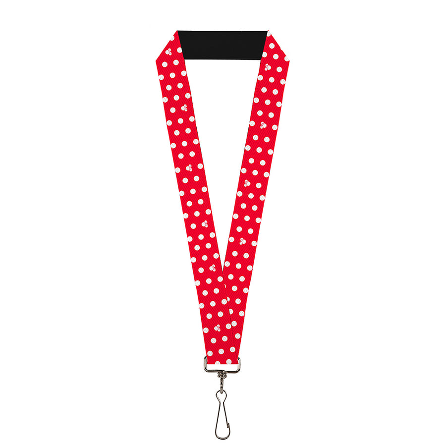 "Lanyard - 1.0"" - Minnie Mouse Polka Dot Mini Silhouette Red White"