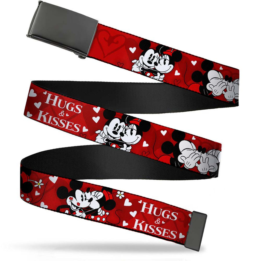 Black Buckle Web Belt - Mickey & Minnie HUGS & KISSES Poses Reds/White Webbing