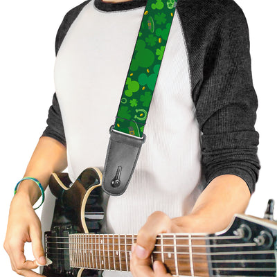 Guitar Strap - St Patrick's Day Mickey Collage Greens