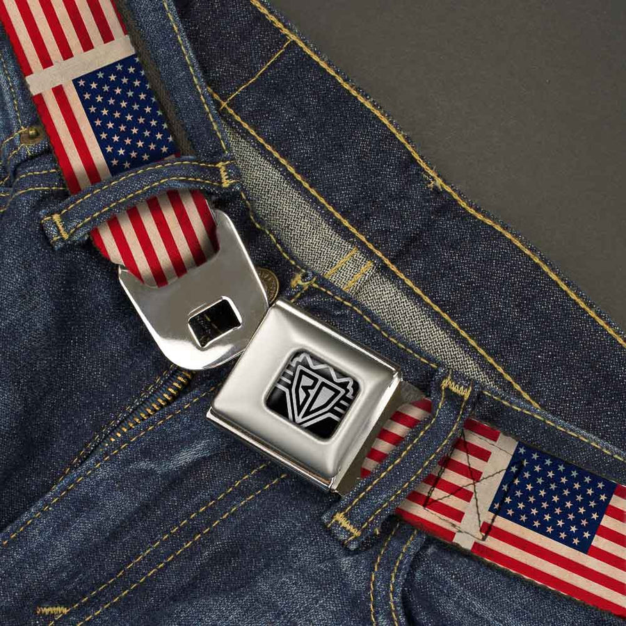 BD Wings Logo CLOSE-UP Full Color Black Silver Seatbelt Belt - American Flag Weathered Color Repeat Webbing