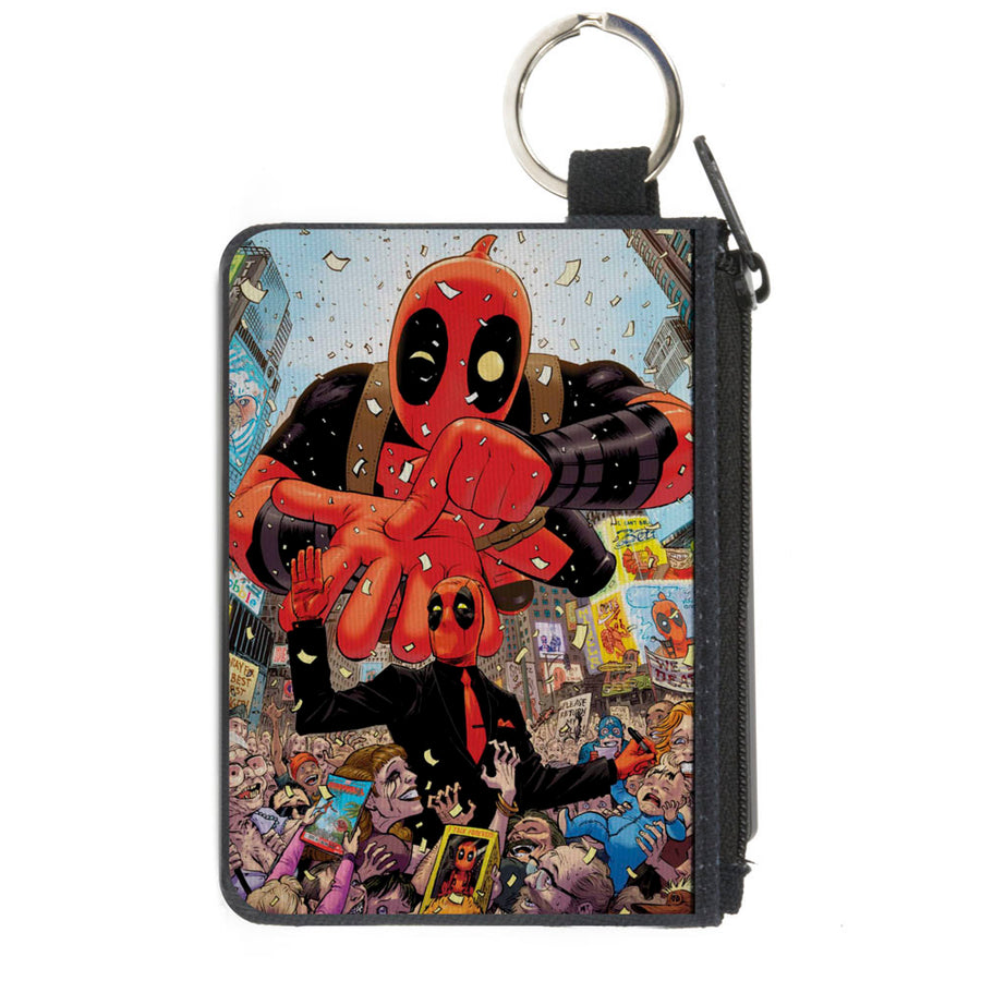 MARVEL DEADPOOL Canvas Zipper Wallet - MINI X-SMALL - Deadpool 2016 Issue #1 Parade Balloon Cover Pose
