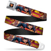 Superman Shield Full Color Black Golds Reds White Seatbelt Belt - Superman Unchained Explosion Action Pose/Wraith/Shield Golds/Reds Webbing