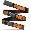 Black Buckle Web Belt - HEMI 426 Logo 392/426 Black/Orange/Silver-Fade Webbing