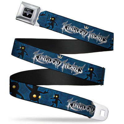 KINGDOM HEARTS Logo Full Color Black Silver Blue Fade Seatbelt Belt - KINGDOM HEARTS Shadow Poses2 Navy Blue/Black Webbing