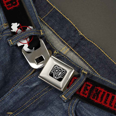 BD Wings Logo CLOSE-UP Full Color Black Silver Seatbelt Belt - ZOMBIE KILLER Zombie Target Black/White/Red Webbing
