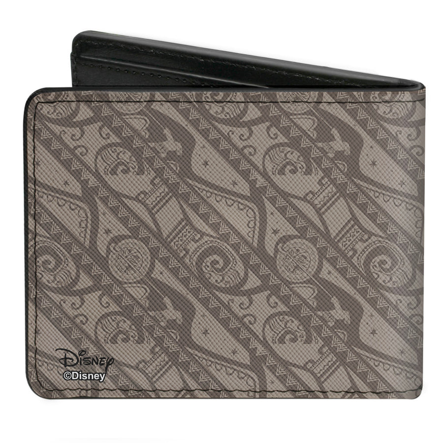 Bi-Fold Wallet - Moana Maui Pose Tribal Stripe Collage Tans Grays