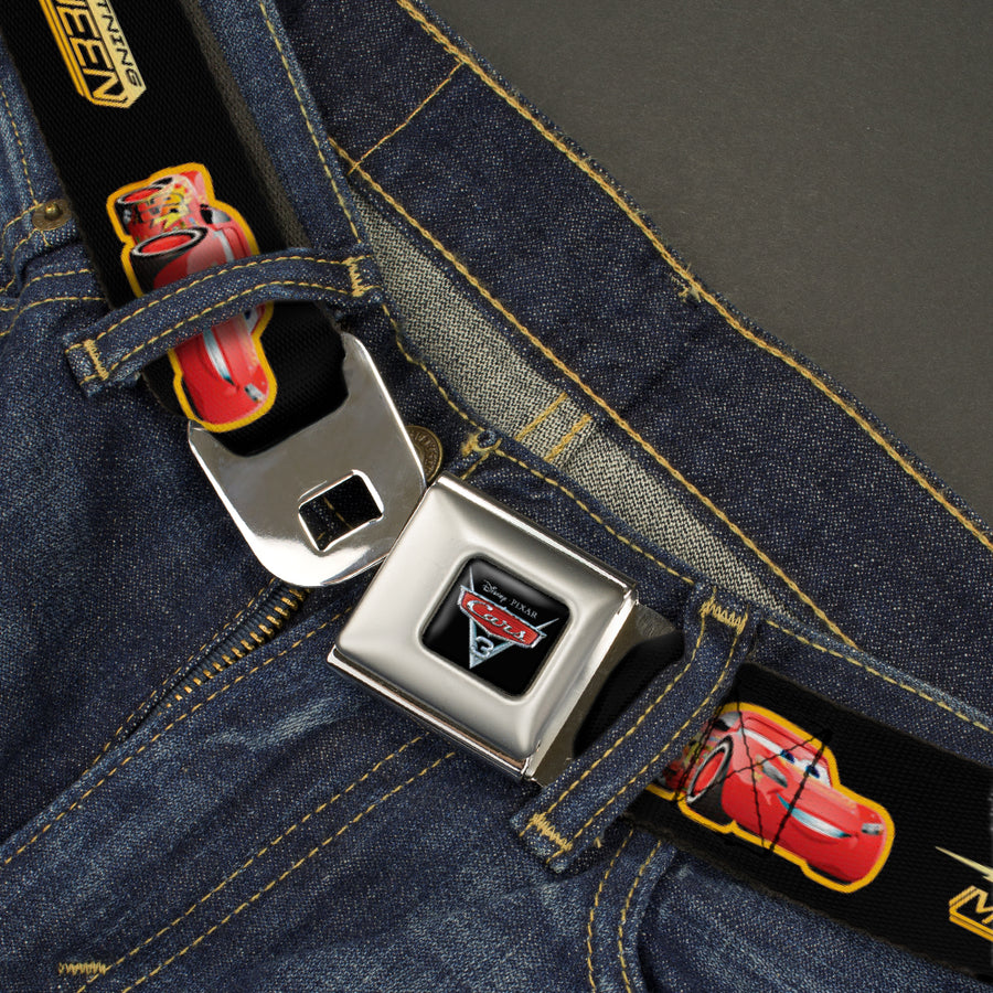 CARS 3 Emblem Full Color Black Silver Red Seatbelt Belt - Cars 3 LIGHTNING MCQUEEN Pose/Bolt Black/Yellows Webbing