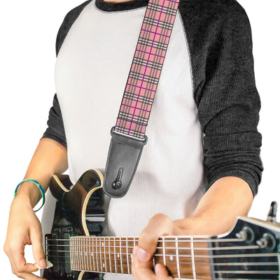 Guitar Strap - Plaid Pink
