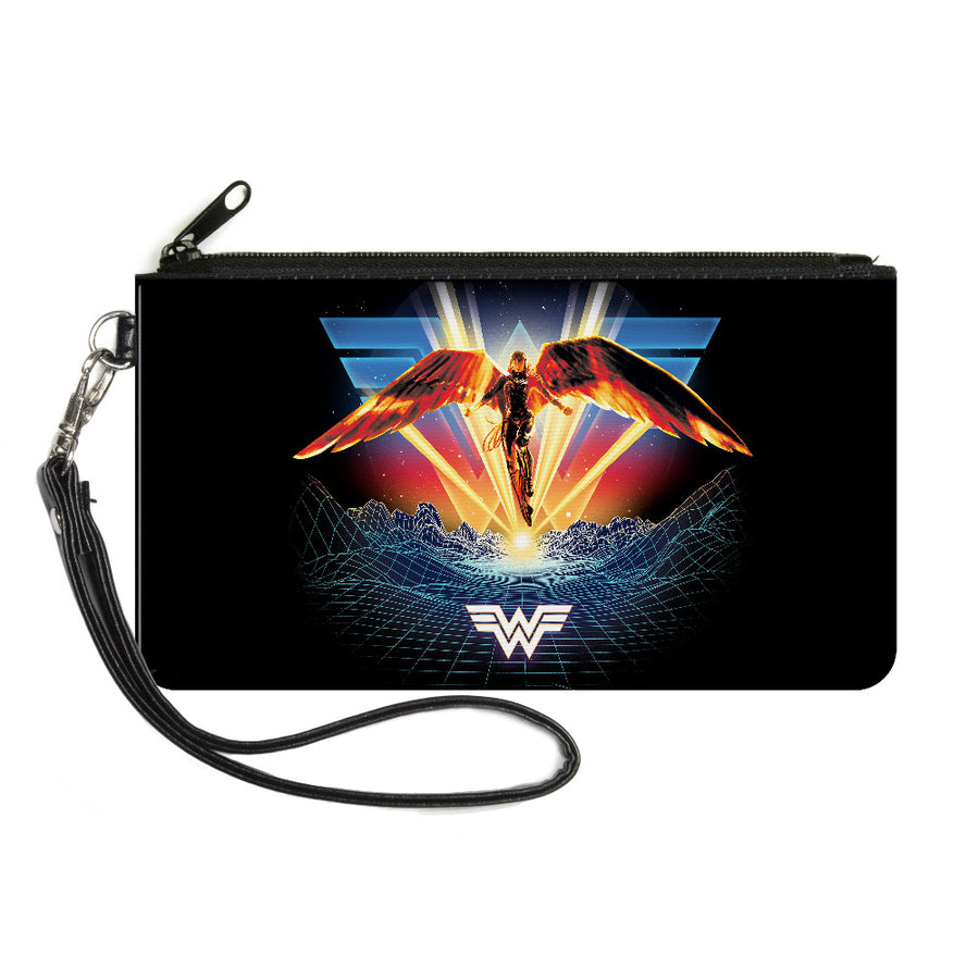 Canvas Zipper Wallet - SMALL - Wonder Woman 1984 Golden Armor Pose WW Logo Topography Black Blues Reds Yellows