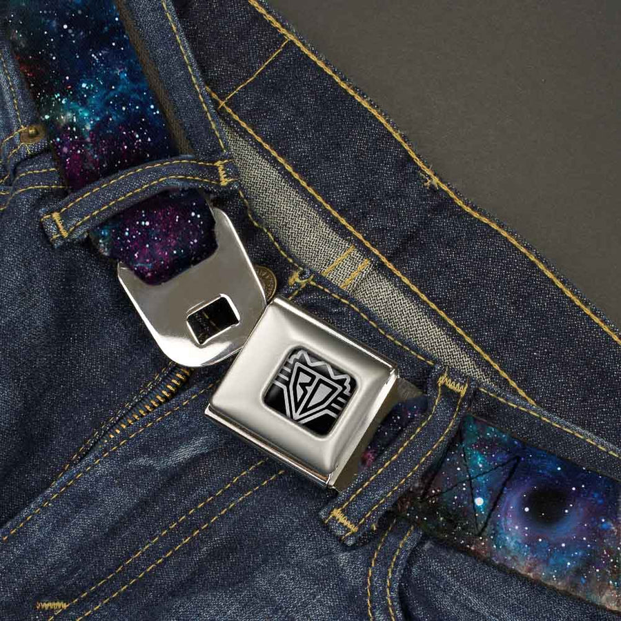 BD Wings Logo CLOSE-UP Full Color Black Silver Seatbelt Belt - Galaxy Collage Webbing