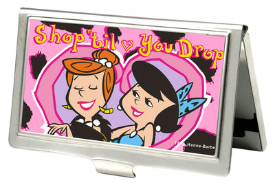 Business Card Holder - SMALL - Wilma & Betty SHOP TIL YOU DROP Heart FCG Pink