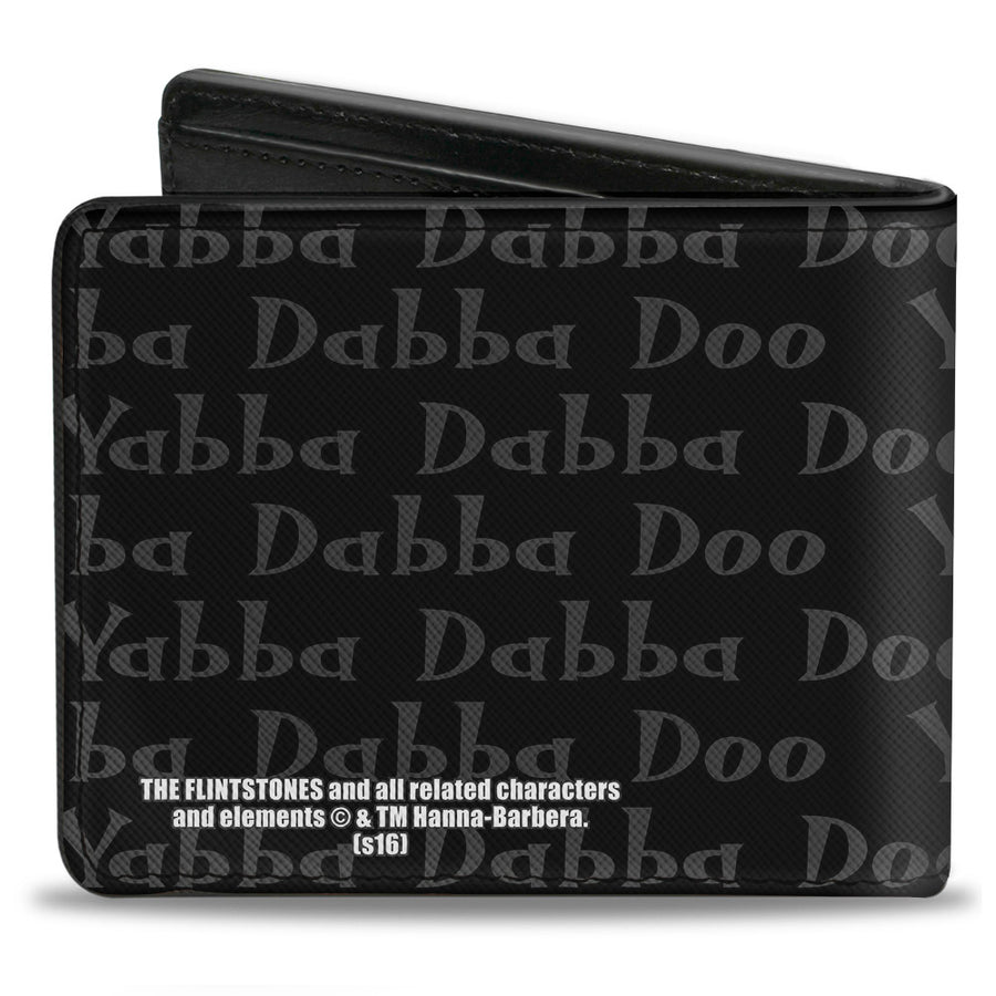 Bi-Fold Wallet - Fred YABBA DABBA DOO Pose2 Black Gray