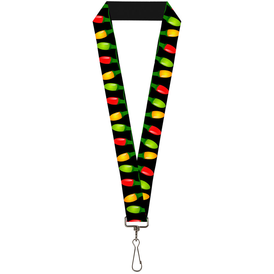 "Lanyard - 1.0"" - Christmas Lights Black Multi Color"