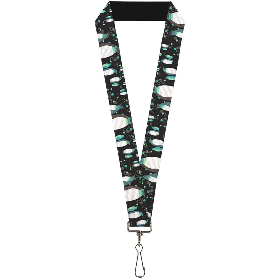 "Lanyard - 1.0"" - Emperor Penguins w Bubbles Black Gray Turqs"